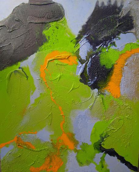 "Hierapolis Sulfurous pool 2 30"" x 36"" Mixed media on canvas"