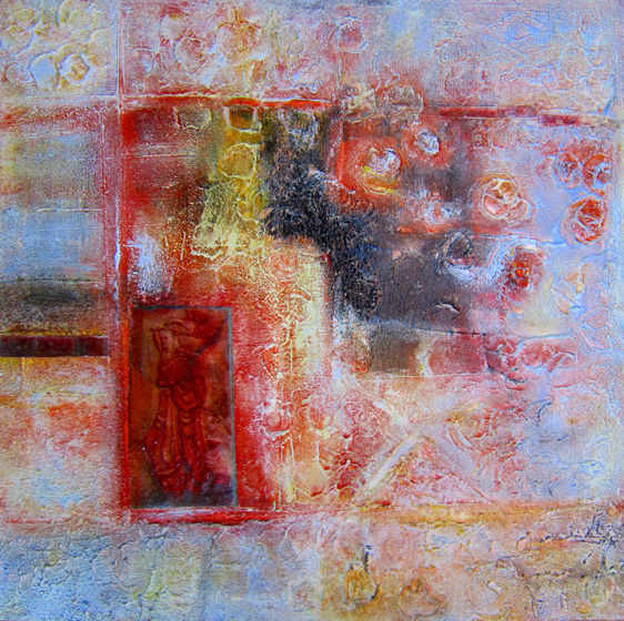 "Kayaköy 2-La Couleur du Temps 24"" x 24"" Mixed media on canvas"