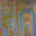 "Kayakoy Church wall 3 mixed media  on canvas and 24"" x 24"""