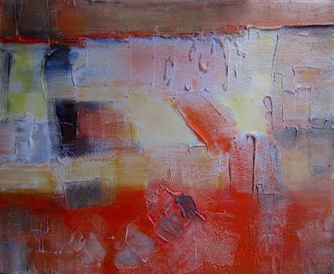 "Kayaköy Orthodox Church Wall 2 30"" x 36"" Mixed media on canvas"