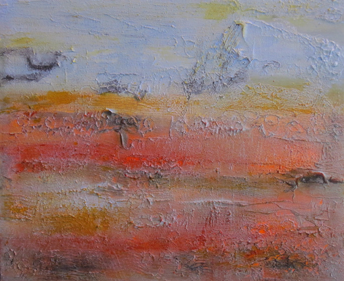 "Pamakkule Terrace 1 36"" x 30"" Mixed media on canvas"