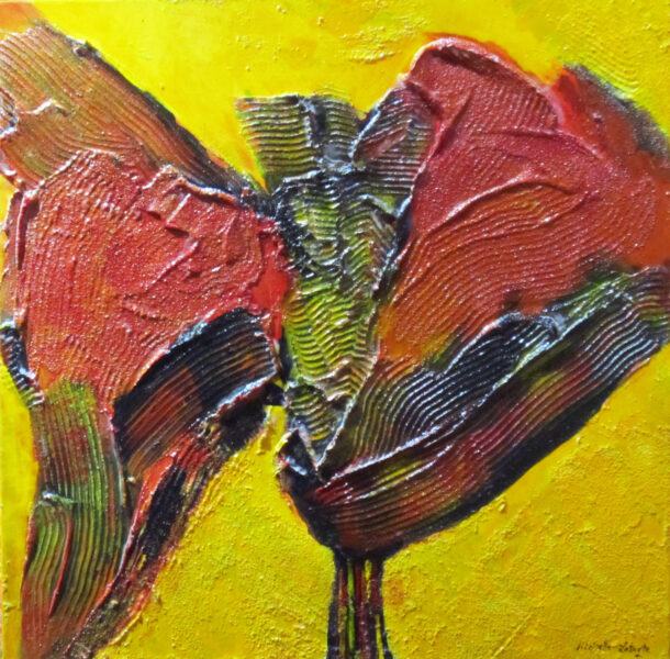 """Cactus Flowers   mixed media on canvas   24"""" x 24"""""""