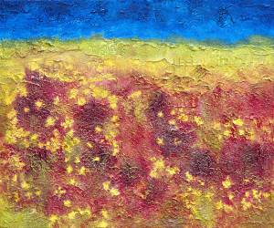 Field of wild flowers on the way to Marsaxlokk, Malta 30x36